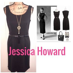 Jessica Howard-NWT Black Sleeveless Belted Dress🖤